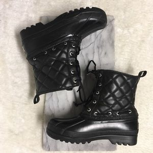 Sperry Black Quilted Waterproof Rain Boots Sz 6